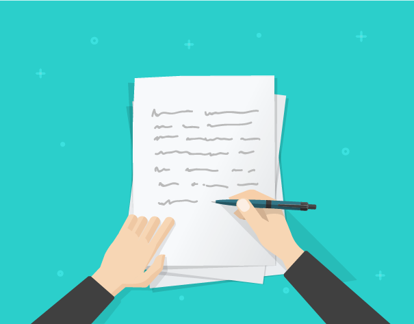 https://www.shutterstock.com/nl/image-vector/writer-writing-on-paper-sheet-vector-556859122?src=oNcWOBptKSphuXsKUzRh3Q-1-67 (Writer writing on paper sheet vector illustration, flat cartoon person hands with pen on working table with text, workplace top view, desktop with writing letter, journalist author workspace)