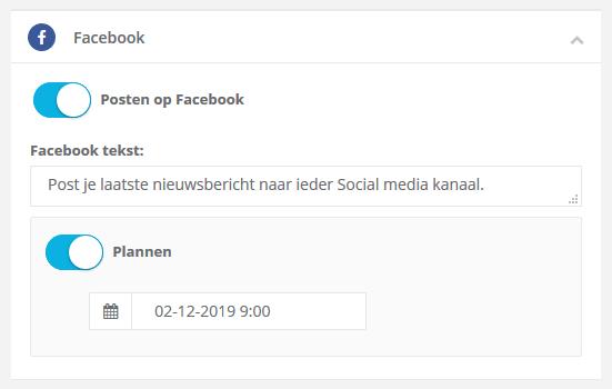 Stap 2: een pagina posten naar Social Media, bv Facebook. Ook een post inplannen is mogelijk!